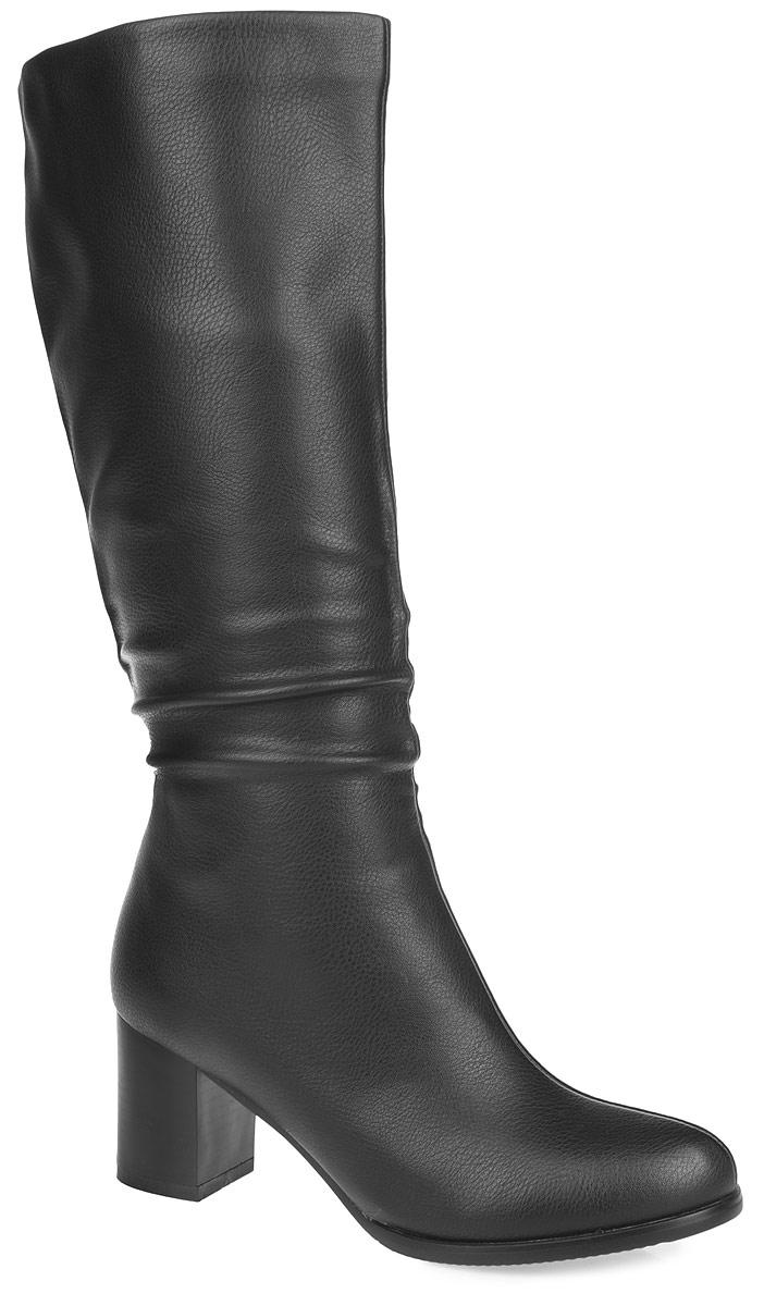 Сапоги женские. 35-57-01A35-57-01AСтильные женские сапоги от MakFine в классическом стиле - отличный вариант на каждый день. Модель выполнена из искусственной гладкой кожи. Подкладка и стелька - из мягкой байки, защитят ноги от холода и обеспечат комфорт. Изделие декорировано сборами от щиколотки к голенищу. Невысокий устойчивый каблук удобен при ходьбе. Подошва из резины с рельефным протектором обеспечивает отличное сцепление на любой поверхности. В этих сапогах вашим ногам будет комфортно и уютно.