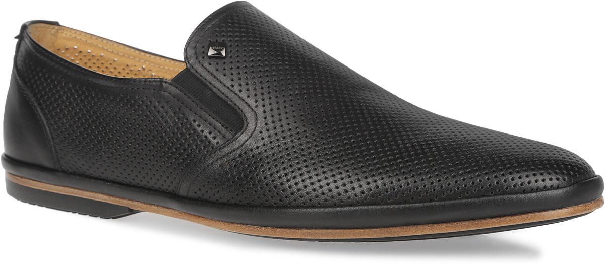 M13672Стильные мужские туфли Vitacci займут достойное место среди вашей коллекции обуви. Модель изготовлена из натуральной высококачественной кожи и декорирована небольшой металлической пластиной с названием бренда на подъеме. Перфорация обеспечивает отличную вентиляцию, позволяет ногам дышать. Резинки, расположенные по бокам, гарантируют оптимальную посадку модели на ноге. Стелька из натуральной кожи комфортна при движении. Подошва дополнена противоскользящим рифлением. Изысканные туфли прекрасно завершат ваш элегантный образ.