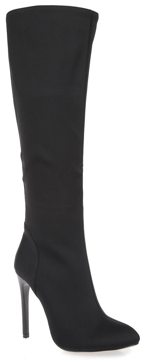 P02-S1263-BИзысканные женские сапоги Winzor займут достойное место в вашем гардеробе. Модель выполнена из высококачественного стрейча и дополнена фактурными швами по верху. Подкладка и стелька из мягкой байки, защитят ноги от холода и обеспечат комфорт. Сапоги застегиваются на застежку-молнию, расположенную на одной из боковых сторон. Зауженный носок добавит женственности в ваш образ. Ультравысокий каблук-шпилька устойчив. Подошва из термопластичного материала с рельефным протектором обеспечивает отличное сцепление на любой поверхности. Модные сапоги покорят вас своим оригинальным дизайном и удобством!