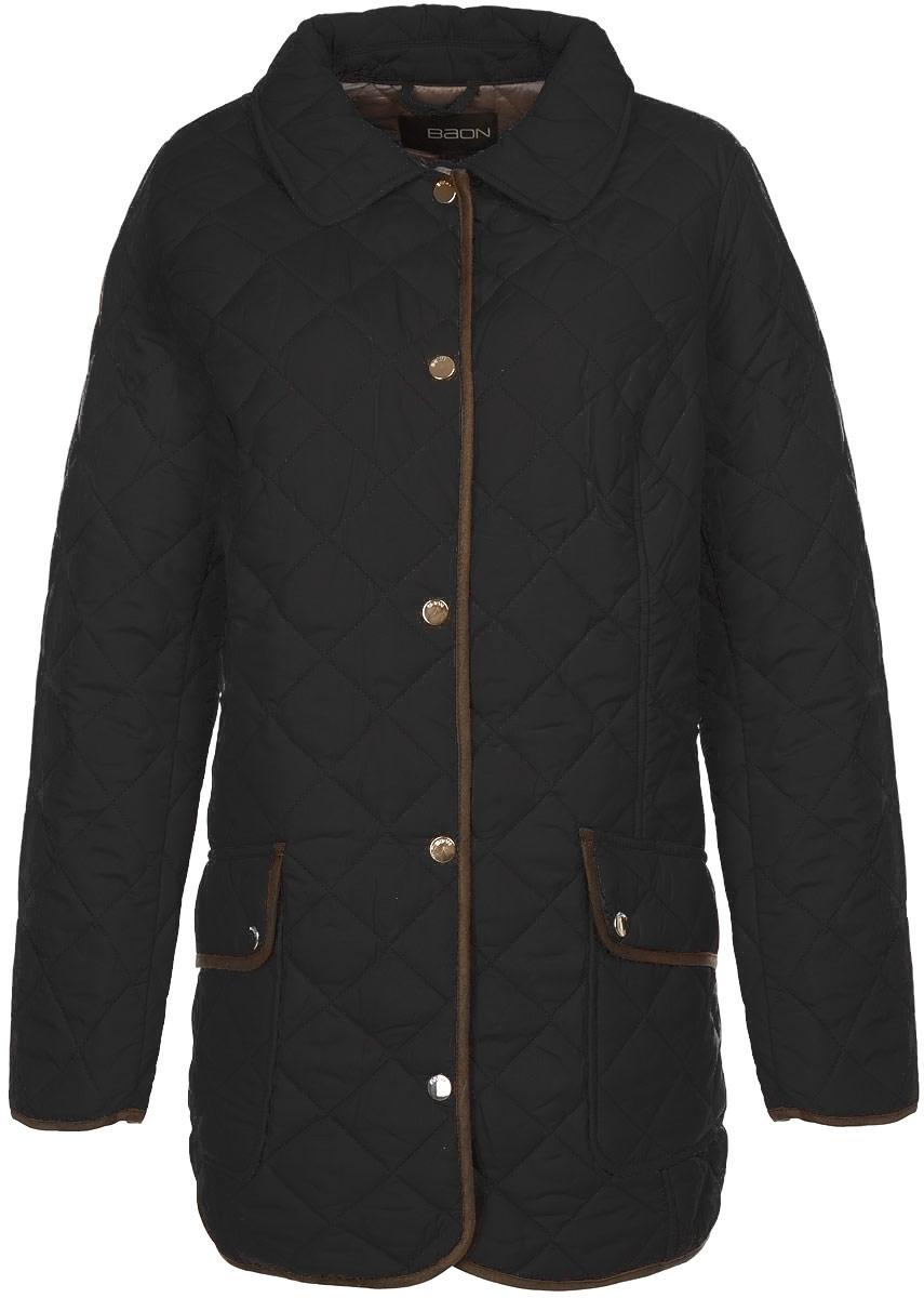 КурткаB035625_BLACKСтильная женская куртка Baon отлично подойдет для прохладной погоды. Модель прямого кроя с отложным воротником и длинными рукавами застегивается по всей длине на металлические кнопки. Куртка оформлена стеганой отстрочкой и дополнена двумя нашивными карманами с клапанами на кнопках. Эта модная куртка послужит отличным дополнением к вашему гардеробу.