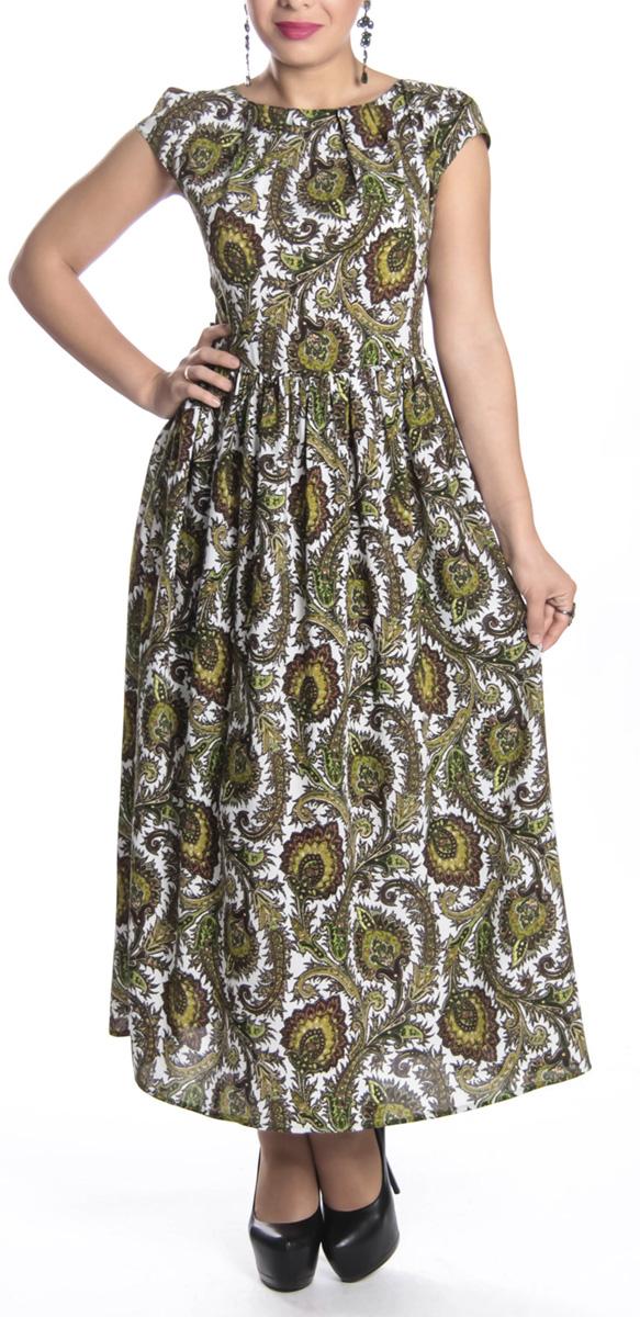 Платье619Очаровательное платье Lautus станет отличным дополнением к вашему гардеробу. Оно выполнено из высококачественного материала, приятное на ощупь, не раздражает кожу и хорошо вентилируется. Модель макси длины с округлым вырезом горловины и короткими рукавами по спинке застегивается на потайную застежку-молнию. Отрезная широкая юбка обеспечивает свободу движений и комфорт. Лиф спереди от горловины имеет небольшие складочки. На линии талии по бокам пришиты завязки, которые можно завязать на спине. Оформлено изделие оригинальным принтом с цветами и пейсли. Стильное платье подчеркнет вашу индивидуальность.