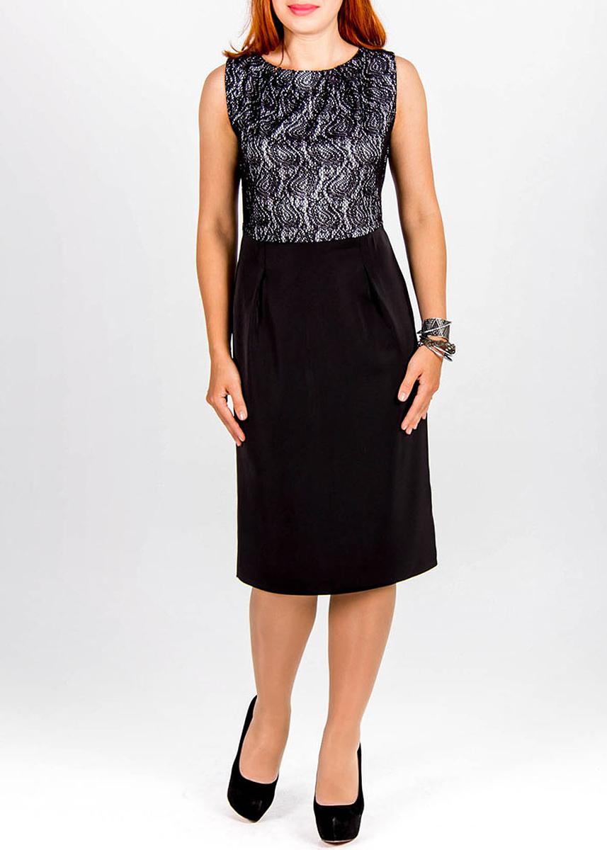 Платье. 261261Стильное платье Lautus поможет создаст утонченный вечерний образ. Изделие выполнено из плотного полиэстера и вискозы. Модель приталенного силуэта, без рукавов, с круглым вырезом горловины. На спинке изделие застегивается на потайную застежку-молнию. На талии платье украшено аккуратным поясом. Приталенный силуэт и актуальная длина выгодно подчеркнут все достоинства вашей фигуры. Верх платья выполнен из ажурного гипюра, юбка - из плотного однотонного материала. Эффектное платье станет замечательным дополнением к вашему гардеробу.