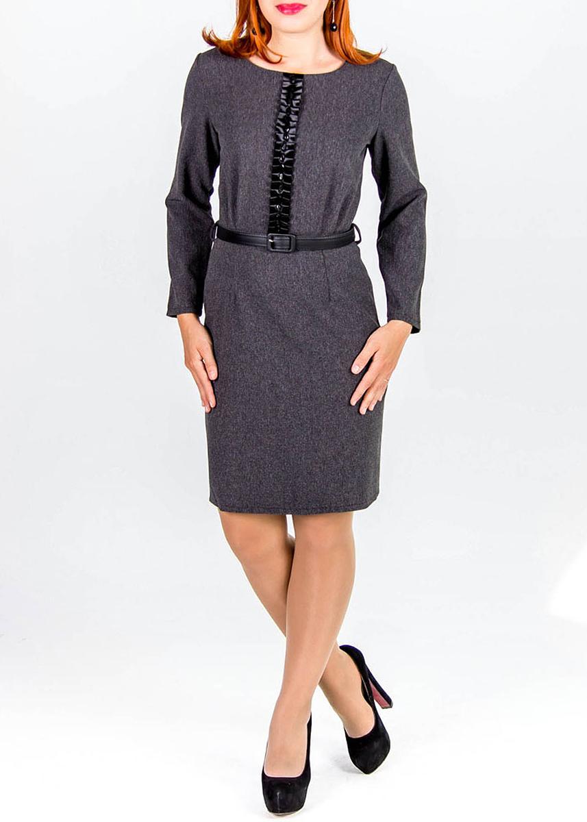 Платье220Элегантное платье Lautus изготовлено из высококачественного полиэстера. Платье оформлено по центру атласной лентой, собранной в складки, и крупными стразами. Талия подчеркнута черным глянцевым ремнем со стандартной железной пряжкой. Ремень входит в комплект. Модель с длинными рукавами и круглым вырезом горловины застегивается на молнию сзади. Идеальный вариант для создания эффектного образа.