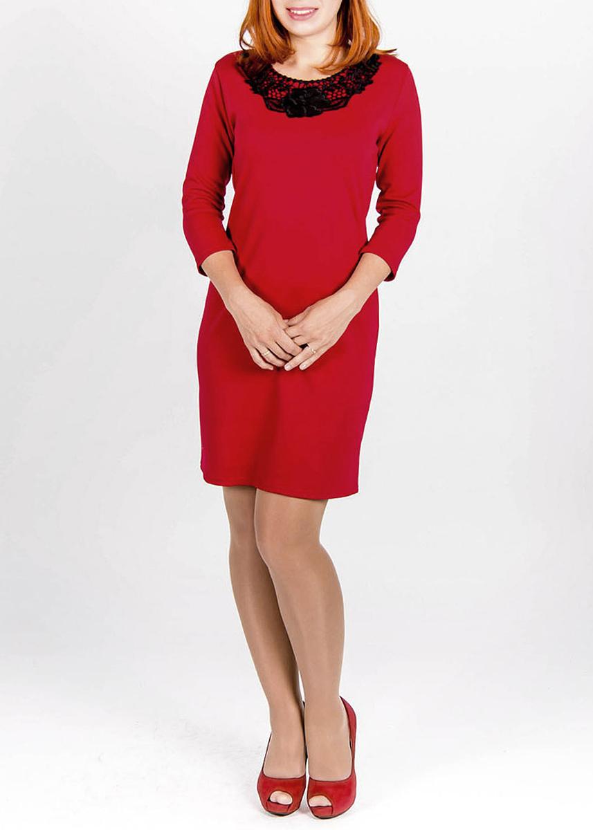 Платье.242242Элегантное платье Lautus изготовлено из мягкой, приятной на ощупь ткани. Модель с рукавами 3/4 добавит вашему образу легкости. Ворот оформлен ажурной вставкой с изображениями цветов. Яркое и оригинальное платье непременно привлечёт внимание, создаст стильный и лаконичный образ Идеальный вариант для создания положительного впечатления!.
