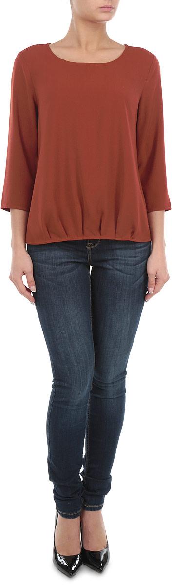 2030738.00.71_3537Стильная женская блуза Tom Tailor, выполненная из 100% полиэстера, подчеркнет ваш уникальный стиль и поможет создать оригинальный женственный образ. Блузка с рукавами 3/4 и круглым вырезом горловины оформлена складками по низу. Легкая блуза идеально подойдет для жарких летних дней. Такая блузка будет дарить вам комфорт в течение всего дня и послужит замечательным дополнением к вашему гардеробу.
