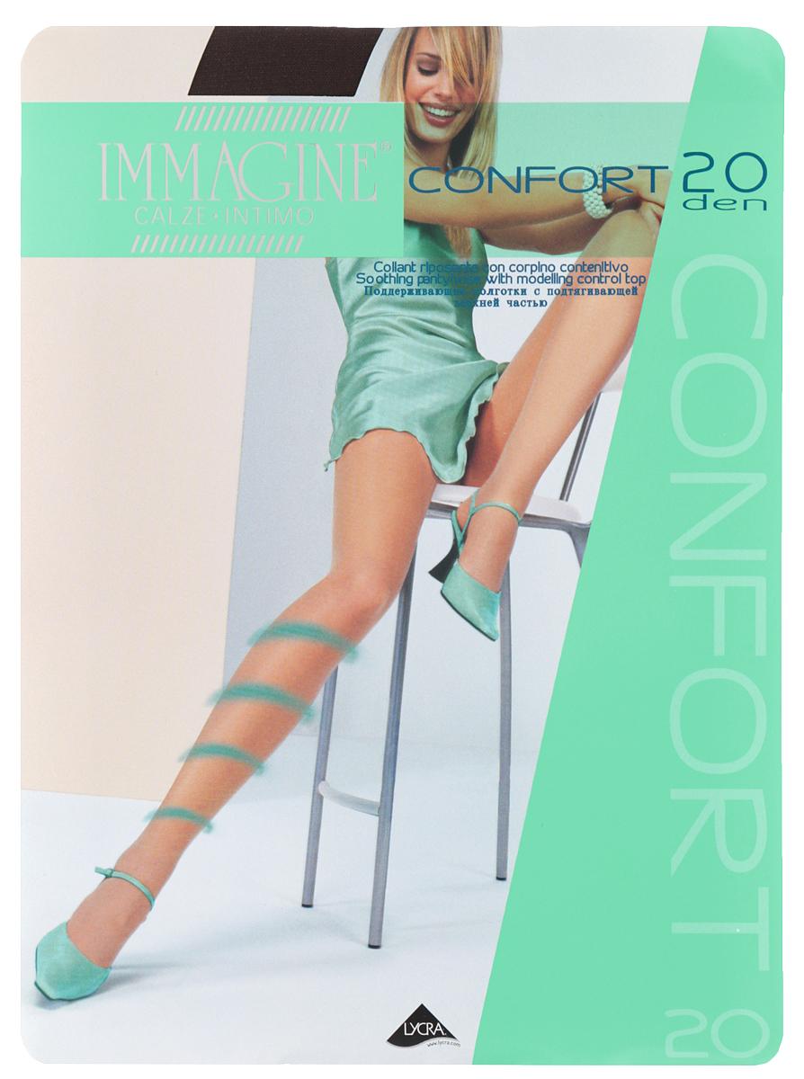 Колготки Confort 20Confort 20 NeroПоддерживающие колготки Immagine Confort отлично подойдут для придания силуэту стройности и плавности линий. Модель выполнена из полиамида с добавлением эластана. Использование высококачественной лайкры обеспечивает отличное облегание фигуры, предотвращает соскальзывание колготок. Колготки с массажирующим эффектом распределяют давление по ноге, стимулируют кровообращение. Ноги в таких колготках выглядят стройнее, элегантнее и меньше устают. Подтягивающие шортики оказывают моделирующее воздействие на силуэт. Модель с удобными швами дополнена на поясе эластичной резинкой, которая плотно облегает талию, обеспечивая комфорт. Плотность: 20 Den.