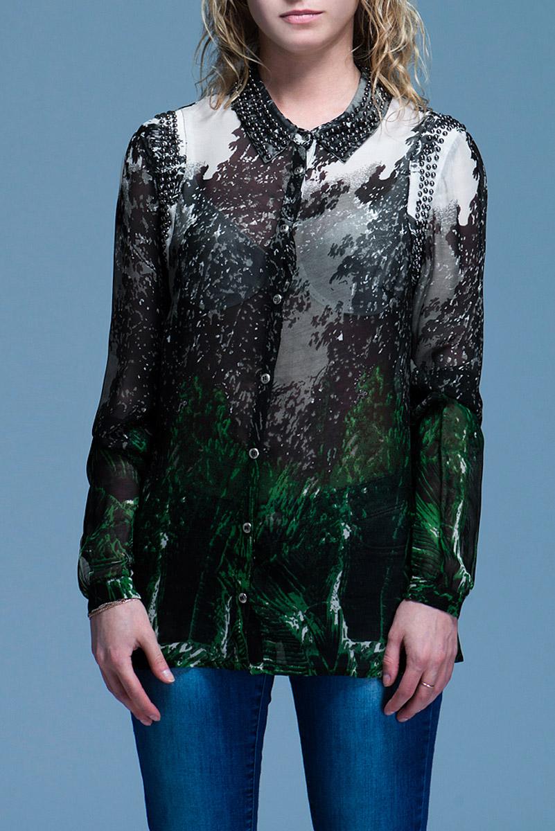 Блуза женская. 3.61.627.053.61.627.05Стильная блуза Van-Dos, изготовленная из вискозы, подарит вам комфорт. Модель с длинными рукавами и отложным воротничком застегивается на пуговицы по всей длине. Манжеты также застегиваются на пуговицы. Блуза оформлена оригинальным принтом. Воротничок и пройма расшиты металлическими бусинами. В таком наряде вы, безусловно, привлечете восхищенные взгляды окружающих.