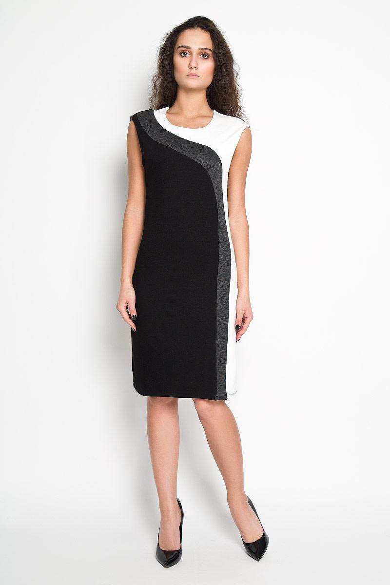 ПлатьеDksl-117/1030-5416DЭлегантное платье Sela выполнено из высококачественного эластичного комбинированного материала. Такое платье обеспечит вам комфорт и удобство при носке. Модель без рукавов, с круглым вырезом горловины выгодно подчеркнет все достоинства вашей фигуры благодаря слегка приталенному силуэту. Платье оформлено контрастными вставками. Изысканное платье-миди создаст обворожительный и неповторимый образ. Это модное и удобное платье станет превосходным дополнением к вашему гардеробу, оно подарит вам удобство и поможет вам подчеркнуть свой вкус и неповторимый стиль.