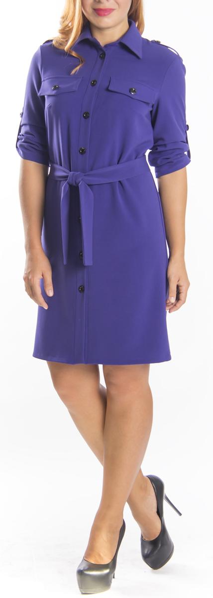 Платье. 651651Стильное платье-рубашка Lautus прямого кроя из мягкого плотного трикотажа подойдет для повседневной носки. Модель выполнена из полиэстера, вискозы и эластана, благодаря которым изделие хорошо держит форму. Платье-рубашка с отложным воротником и рукавами до локтя дополнено текстильным поясом, который подчеркнет вашу талию. Это модное платье станет отличным дополнением к вашему гардеробу.