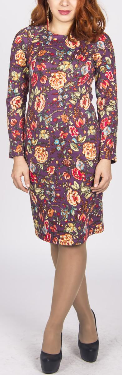 Платье480Платье Lautus, изготовленное из плотного трикотажного материала, поможет вам создать утонченный и женственный образ. Модель приталенного силуэта с круглым вырезом горловины и рукавами-реглан стандартной длины. Платье имеет застежку-молнию на спинке. Модель оформлена цветочным принтом. Платье Lautus подчеркнет ваш безупречный вкус.