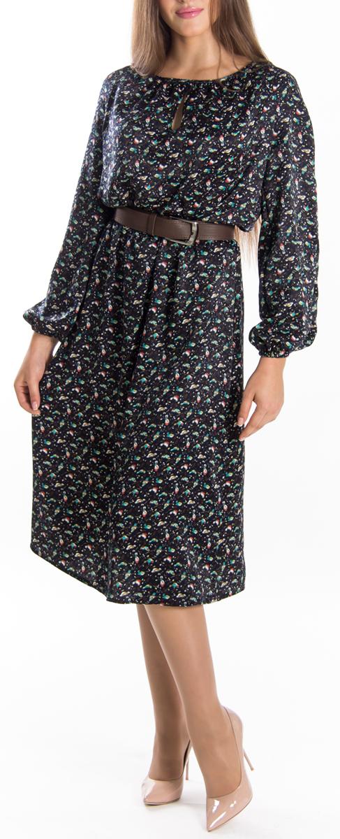 Платье. 655655Элегантное платье Lautus изготовлено из высококачественного эластичного полиэстера, гладкого и приятного на ощупь. Такое платье обеспечит вам комфорт и удобство при носке. Модель с круглым вырезом горловины и длинными рукавами выгодно подчеркнет все достоинства вашей фигуры благодаря приталенному силуэту. Манжеты рукавов дополнены эластичными резинками. Платье имеет небольшую каплевидную вырубку спереди и оформлено принтом с изображением птичек на ветках. Изысканное платье-макси с пришивной юбкой создаст обворожительный и неповторимый образ. Это модное и удобное платье станет превосходным дополнением к вашему гардеробу, оно подарит вам удобство и поможет вам подчеркнуть свой вкус и неповторимый стиль.