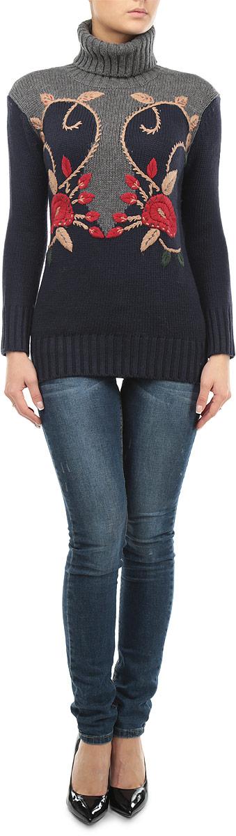Свитер женский. B135556B135556_DARK NAVYЖенский свитер Baon станет стильным дополнением к вашему гардеробу. Выполненный из полиамида и акрила с добавлением шерсти, он очень мягкий и приятный на ощупь, не сковывает движения и позволяет коже дышать, обеспечивая комфорт. Свитер с длинными рукавами и высоким воротником-гольф великолепно подойдет для создания современного образа в стиле Casual. Манжеты рукавов, ворот и низ изделия связаны крупной резинкой. Модель оформлена цветочной вышивкой. Такой свитер идеально подойдет для прохладной погоды, в нем вы всегда будете чувствовать себя уютно и комфортно.