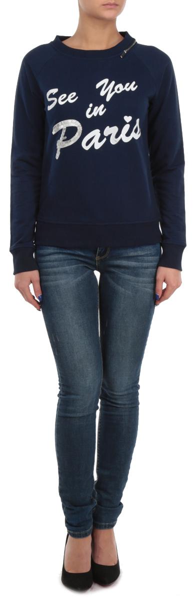 СвитшотB115504Великолепный женский свитшот Baon, выполненный из хлопка с добавлением полиэстера, обладает высокой теплопроводностью, воздухопроницаемостью и гигроскопичностью, позволяет коже дышать. Модель с круглым вырезом горловины и длинными рукавами оформлена принтовой надписью, украшенной стразами, пайетками и бисером. Горловина дополнена декоративной металлической молнией. Манжеты и низ изделия отделаны эластичной трикотажной резинкой. Такой свитшот будет дарить вам комфорт в течение всего дня и послужит замечательным дополнением к вашему гардеробу.