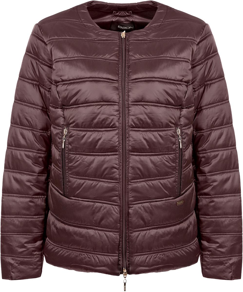 Куртка женская. B035616B035616_BROWNСтильная женская куртка Baon, выполненная из высококачественного материала с атласным эффектом, украсит ваш повседневный облик. Модель полуприталенного силуэта будет выгодно смотреться на фигуре любого типа, а округлый вырез горловины подчеркнет модную направленность образа. Изделие с эффектной стежкой застегивается на молнию по всей длине, по бокам дополнено двумя вертикальными карманами на молнии. Эта стильная куртка согреет вас в прохладную погоду и станет отличным дополнением к вашему гардеробу.