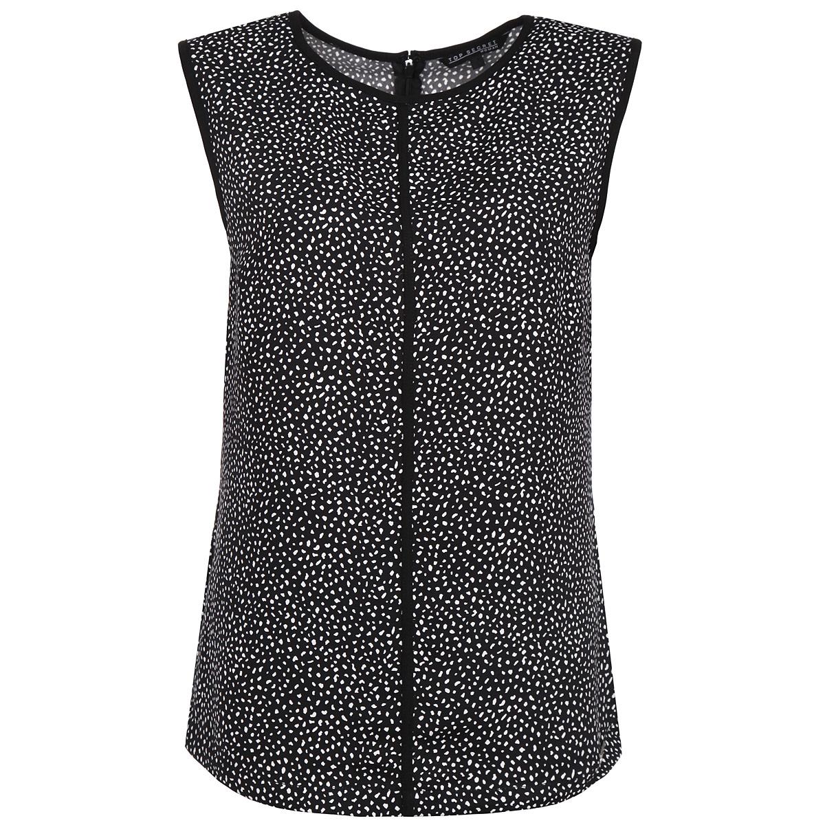 Блузка. SBK2103BISBK2103BIСтильная блуза Top Secret, выполненная из высококачественного материала, подчеркнет ваш уникальный стиль и поможет создать оригинальный женственный образ. Блузка свободного кроя без рукавов, с круглым вырезом горловины оформлена принтом в виде контрастных мелких пятнышек. На спинке блузка застегивается на молнию и дополнительно - на крючок. Легкая блуза идеально подойдет для жарких летних дней. Такая блузка будет дарить вам комфорт в течение всего дня и послужит замечательным дополнением к вашему гардеробу.