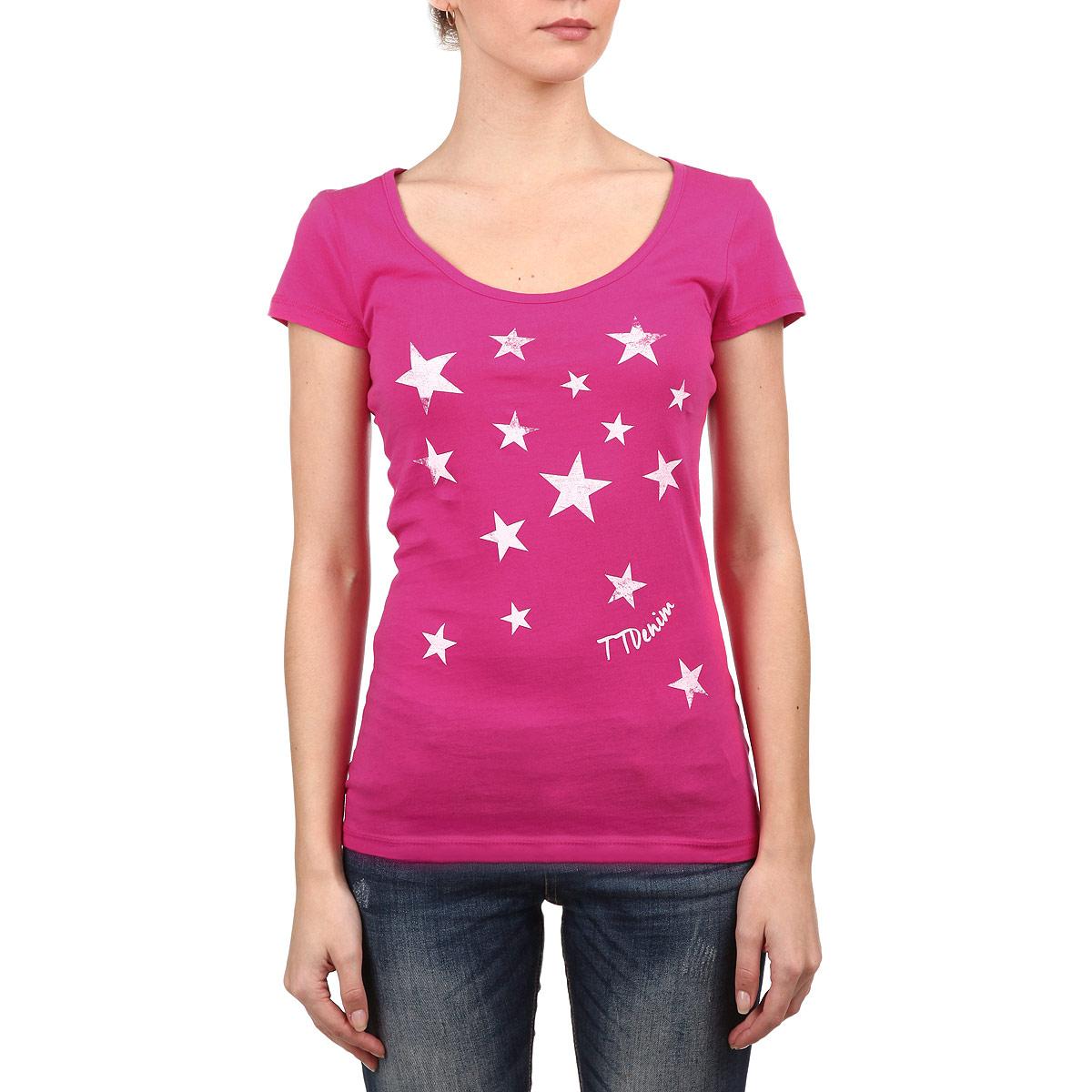 Футболка женская Denim. 1030338.00.711030338.00.71Стильная женская футболка Tom Tailor, выполненная из высококачественного мягкого хлопка, великолепно тянется, обладает высокой теплопроводностью, воздухопроницаемостью и гигроскопичностью, позволяет коже дышать. Классическая модель с короткими рукавами и круглым вырезом горловины - идеальный вариант для создания образа в стиле Casual. Футболка оформлена принтом с изображением звезд. Такая модель будет дарить вам комфорт в течение всего дня и послужит замечательным дополнением к вашему гардеробу.