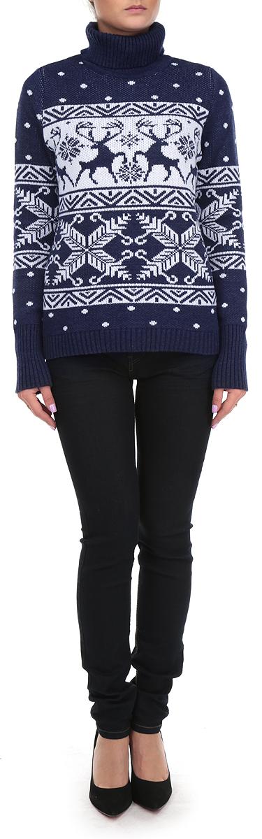 Свитер женский. 897897Стильный женский свитер Milana Style, выполненный из шерсти и акрила, необычайно мягкий и приятный на ощупь, не сковывает движения, обеспечивая наибольший комфорт. Модель с воротником-гольфом и длинными рукавами идеально гармонирует с любыми предметами одежды. Низ и манжеты изделия связаны широкой резинкой, что предотвращает деформацию при носке. Свитер декорирован зимним узором и изображением оленей. Теплый и уютный свитер станет прекрасным дополнением вашего гардероба.