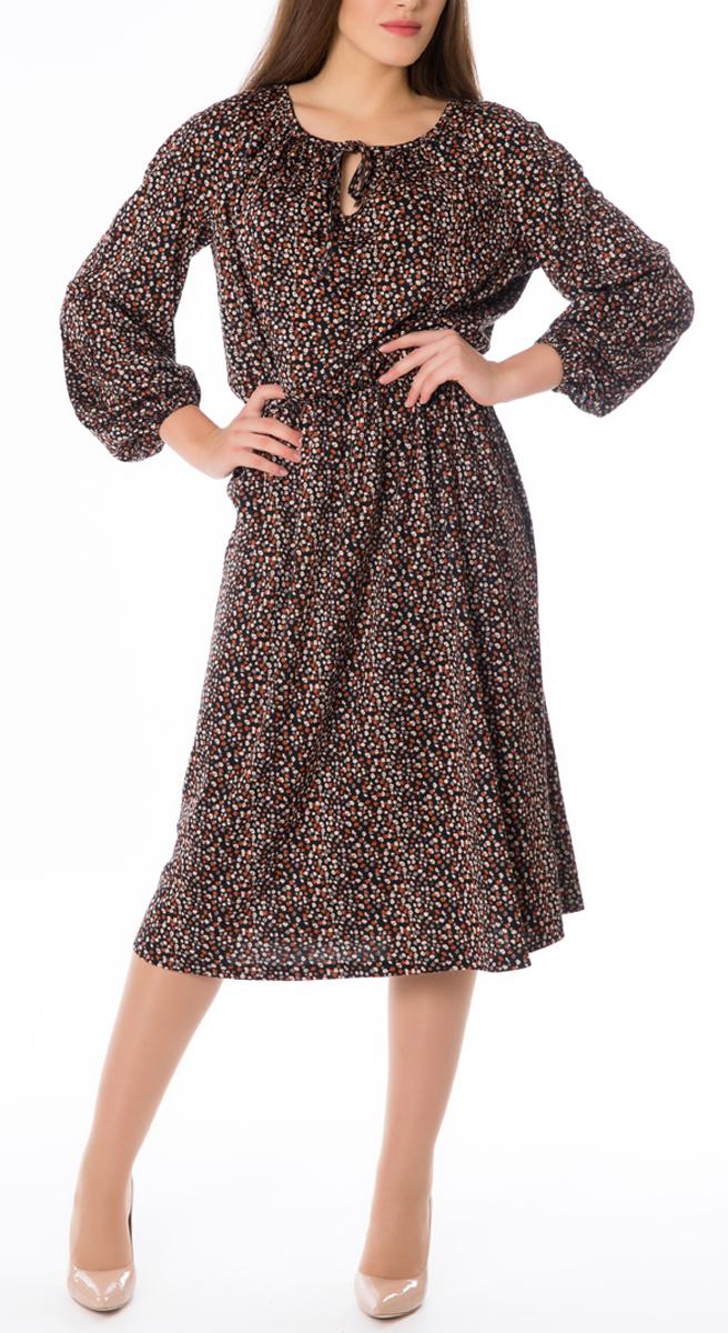 Платье668Стильное женское платье Lautus, выполненное из высококачественных материалов, идеально впишется в ваш гардероб. Модель приталенного силуэта с круглым воротником и длинными рукавами прекрасно подчеркнет достоинства вашей фигуры. Манжеты и линия талии изделия стянуты эластичными резинками. Края горловины изделия переходят в тонкие хлястики, которые можно завязать в бант. Это яркое платье с оригинальным принтом станет отличным дополнением к вашему гардеробу.
