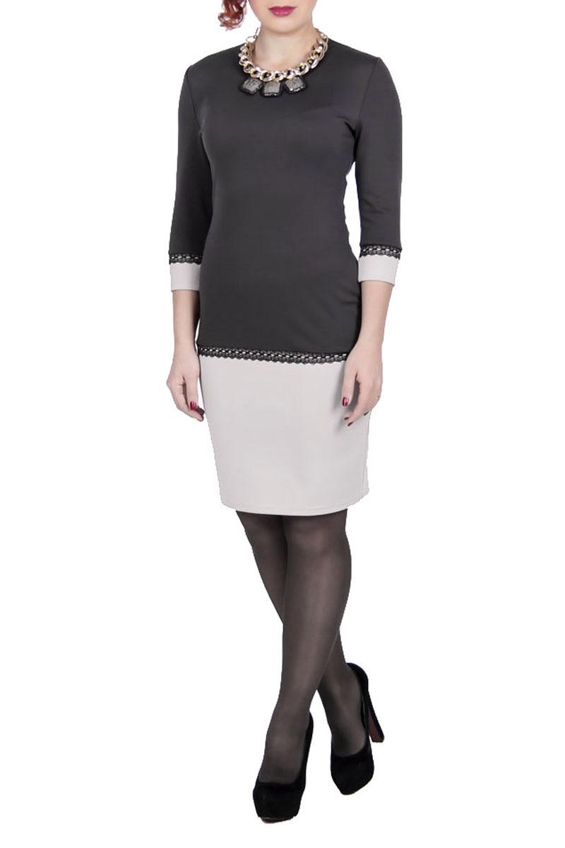 Платье545Платье Launus выполнено из плотного трикотажного материала. Модель прилегающего силуэта с контрастно выделенным подолом и манжетами. Изделие с круглым вырезом горловины и рукавами 3/4 - отличный повседневный или офисный вариант. Платье оформлено кружевом. Стильное платье займет достойное место в вашем гардеробе.