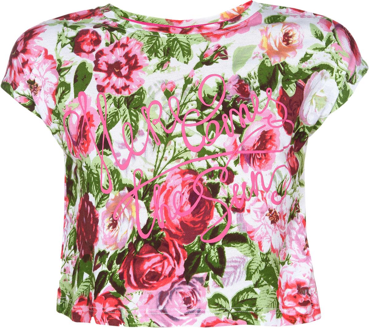 ФутболкаTs-611/210-6122Стильная футболка для девочки Sela идеально подойдет вашей моднице и станет прекрасным дополнением детского гардероба. Изготовленная из 100% вискозы, она мягкая и приятная на ощупь, не сковывает движения, не раздражает даже самую нежную и чувствительную кожу ребенка, обеспечивая наибольший комфорт. Укороченная футболка с круглым вырезом горловины и короткими рукавами-кимоно оформлена цветочным принтом, а также термоаппликацией в виде надписей на английском языке. В такой футболке ваша принцесса будет чувствовать себя уютно и комфортно, и всегда будет в центре внимания!