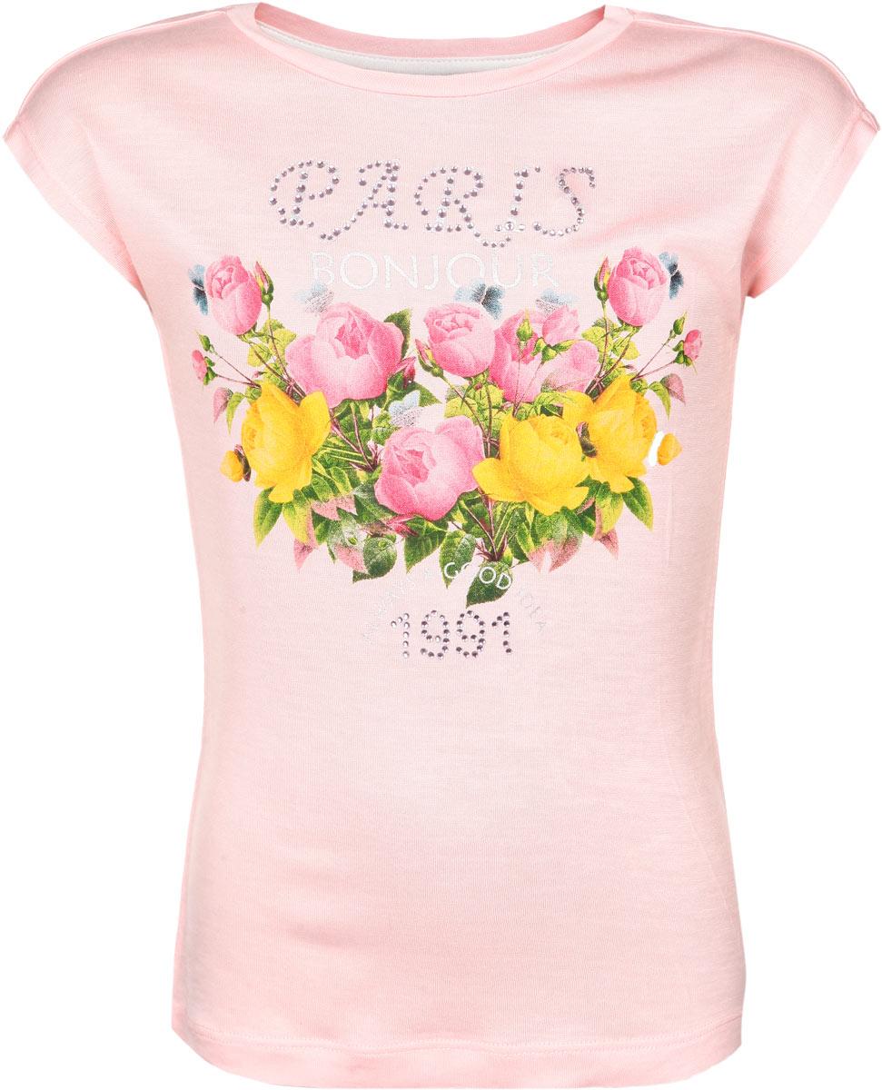 Футболка для девочки. Ts-611/068-6141Ts-611/068-6141Стильная футболка для девочки Sela идеально подойдет вашей моднице и станет прекрасным дополнением детского гардероба. Изготовленная из 100% вискозы, она мягкая и приятная на ощупь, не сковывает движения, не раздражает даже самую нежную и чувствительную кожу ребенка, обеспечивая наибольший комфорт. Футболка трапециевидного кроя с круглым вырезом горловины и короткими рукавами-кимоно оформлена цветочным принтом и украшена цветными стразами. В такой футболке ваша принцесса будет чувствовать себя уютно и комфортно, и всегда будет в центре внимания!