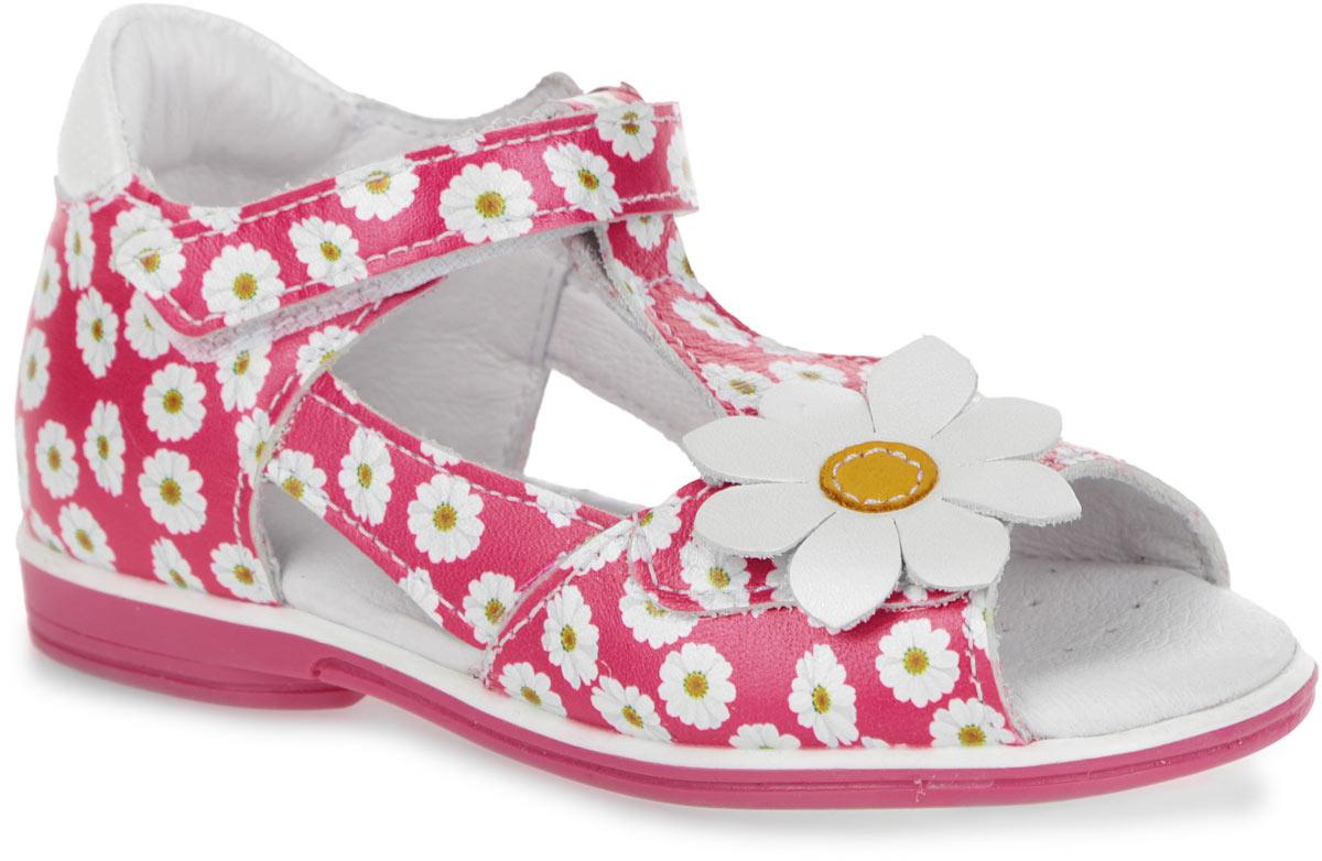 Сандалии6-805781501Прелестные сандалии от Elegami очаруют вашу девочку с первого взгляда! Модель выполнена из натуральной кожи с цветочным принтом и дополнена аппликацией в виде цветка. Полужесткий закрытый задник и фиксирующий ремешок на застежке-липучке обеспечивают оптимальную посадку обуви на ноге, не давая ей смещаться из стороны в сторону и назад. Стелька из натуральной кожи дополнена супинатором, который обеспечивает правильное положение ноги ребенка при ходьбе, предотвращает плоскостопие. Перфорация на стельке позволяет ногам дышать. Рифленая поверхность подошвы защищает изделие от скольжения. Яркие стильные сандалии поднимут настроение вам и вашей дочурке!