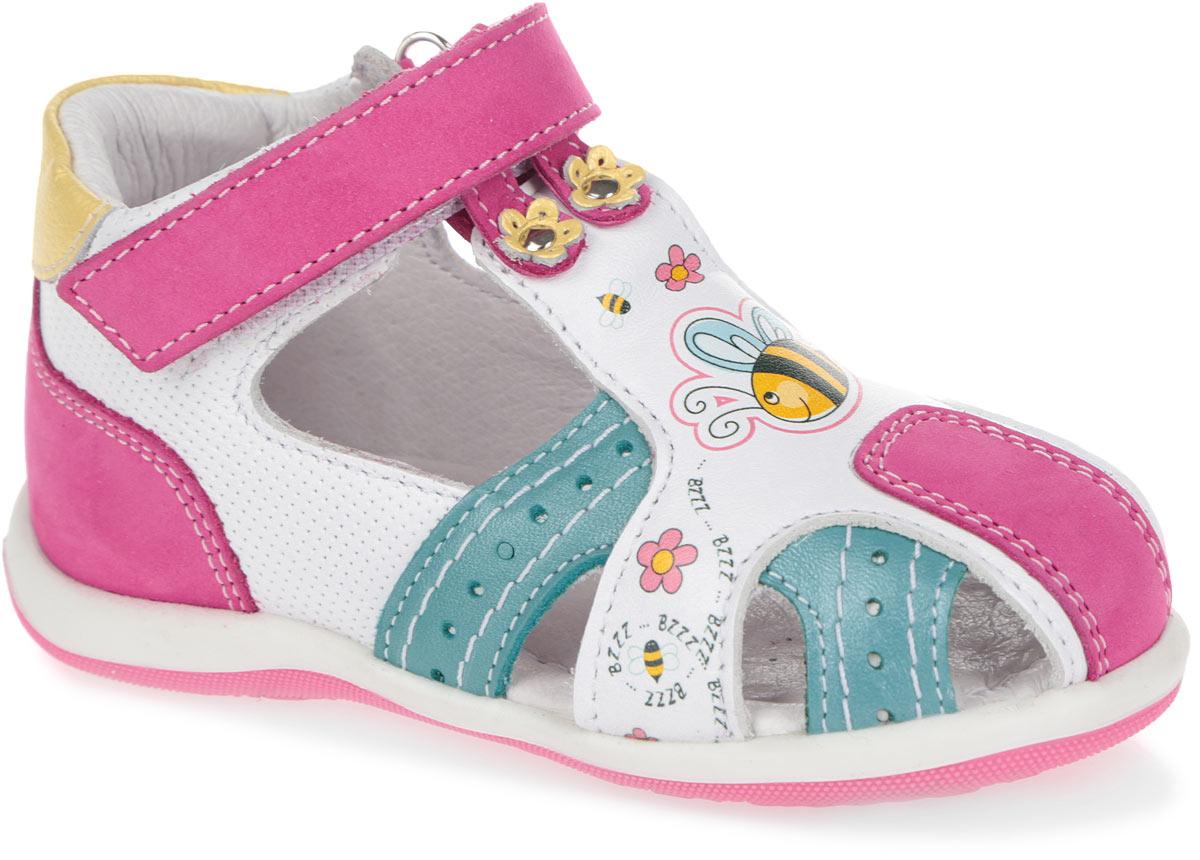 Сандалии для девочки. 7-8045915017-804591501Прелестные сандалии от Elegami очаруют вашу девочку с первого взгляда! Модель, выполненная из натуральной кожи и нубука, оформлена ярким принтом. Закрытый задник и фиксирующий ремешок на застежке-липучке обеспечивают оптимальную посадку обуви на ноге, не давая ей смещаться из стороны в сторону и назад. Стелька из натуральной кожи дополнена супинатором, который обеспечивает правильное положение ноги ребенка при ходьбе, предотвращает плоскостопие. Перфорация на стельке позволяет ногам дышать. Рифленая поверхность подошвы защищает изделие от скольжения. Яркие стильные сандалии поднимут настроение вам и вашей дочурке!