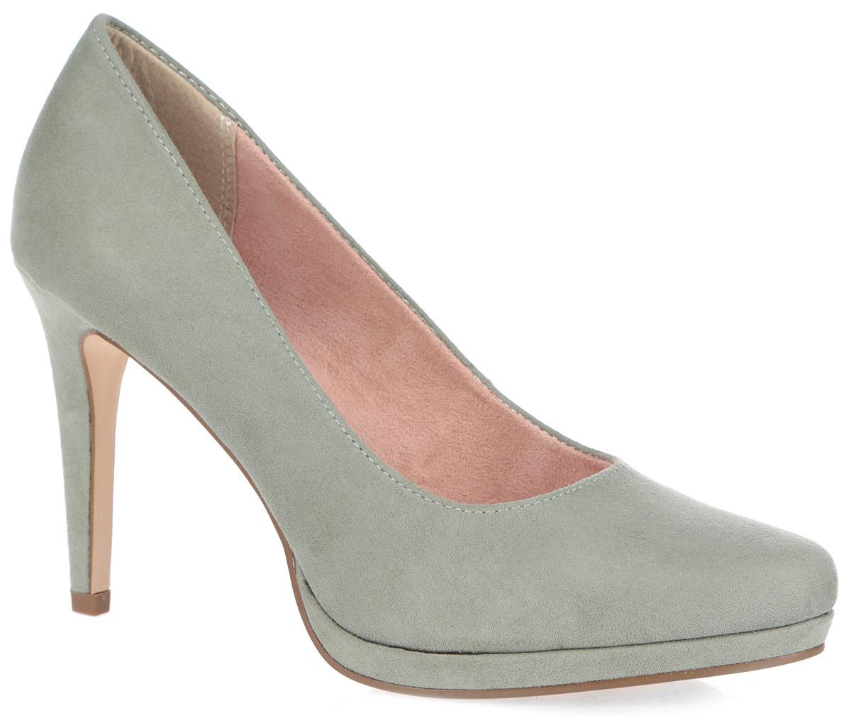 Туфли женские. 1-1-22446-36-7681-1-22446-36-768Модные женские туфли от Tamaris очаруют вас с первого взгляда. Модель выполнена из мягкого текстиля с ворсистой фактурой. Заостренный носок добавляет женственности в образ. Подкладка из текстиля, стелька из текстиля и искусственной кожи обеспечивают комфорт при движении. Высокий каблук компенсирован платформой. Подошва с рифлением обеспечивает отличное сцепление на любой поверхности. Роскошные туфли помогут вам создать элегантный образ.