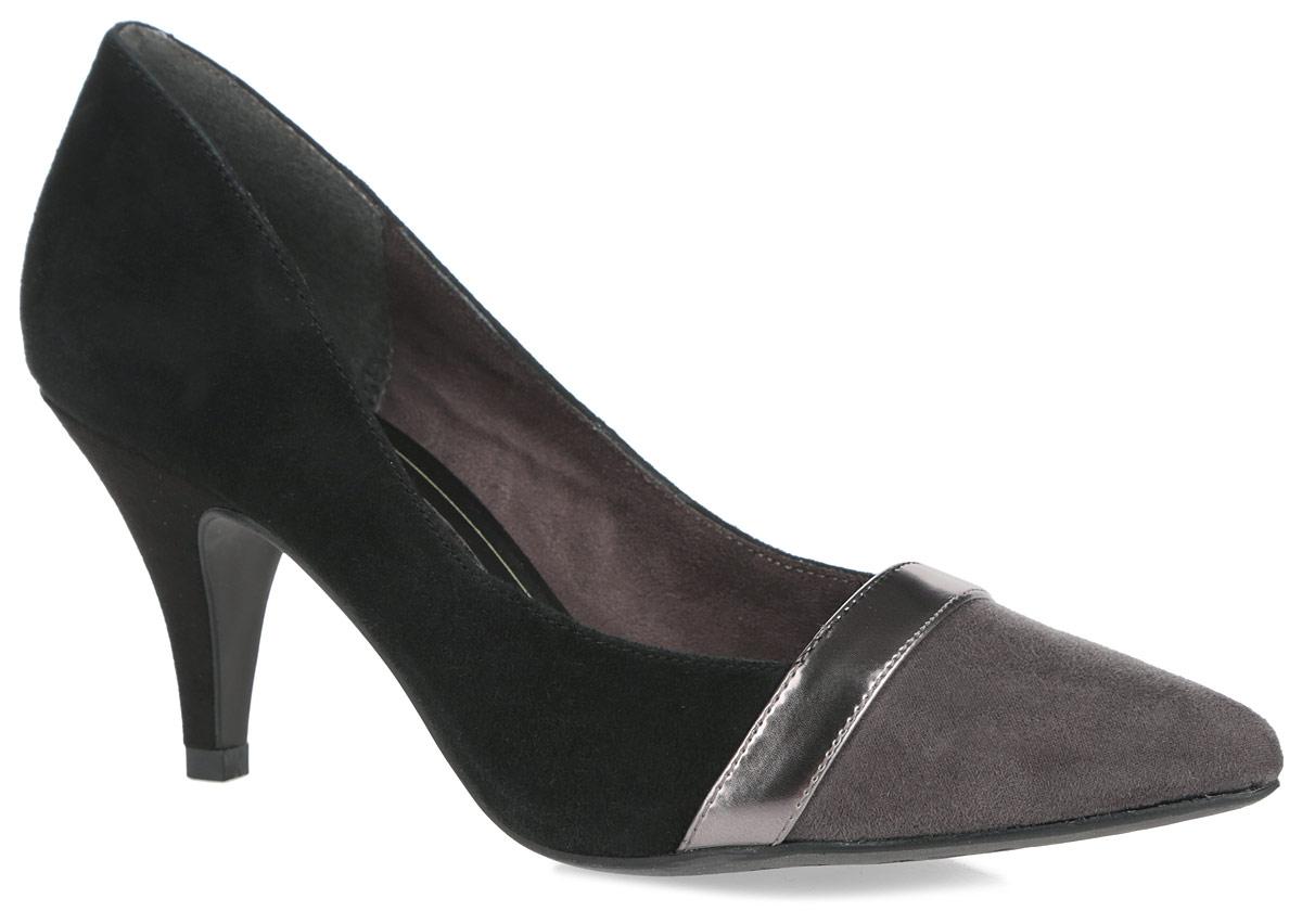 Туфли женские. 1-1-22424-26-0981-1-22424-26-098Модные женские туфли от Tamaris очаруют вас с первого взгляда. Модель выполнена из натуральной кожи, мягкого текстиля и дополнена вставкой из искусственной кожи. Острый носок добавляет женственности в образ. Подкладка из текстиля, стелька из текстиля и искусственной кожи обеспечивают комфорт при движении. Каблук умеренной высоты устойчив. Подошва обеспечивает отличное сцепление на любой поверхности. Роскошные туфли помогут вам создать элегантный образ.