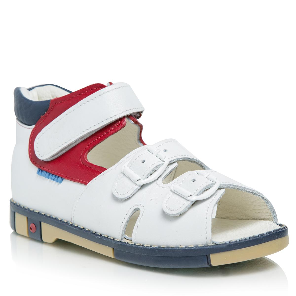 Сандалии401-17Оригинальные детские сандалии Таши Орто займут достойное место в гардеробе вашего ребенка. Модель выполнена из натуральной кожи контрастных цветов и дополнена по ранту декоративной прострочкой. Литая анатомическая стелька из натуральной кожи со сводоподдерживающим элементом и латексным покрытием, не продавливающаяся во время носки, обеспечивает правильное формирование стопы. Благодаря использованию современных внутренних материалов позволяет оптимально распределить нагрузку по всей площади стопы, дает ножке ощущение мягкости и комфорта. Мягкая верхняя часть, которая плотно прилегает к ножке, и подкладка, изготовленная из натуральной кожи, позволяют избежать натирания. Полужесткий задник фиксирует ножку ребенка, не давая ей смещаться из стороны в сторону и назад. Ремешок на застежке-липучке и два ремешка в области подъема на застежке-пряжке помогают оптимально подогнать полноту обуви по ноге и гарантируют надежную фиксацию. Сбоку сандалии декорированы символикой бренда....