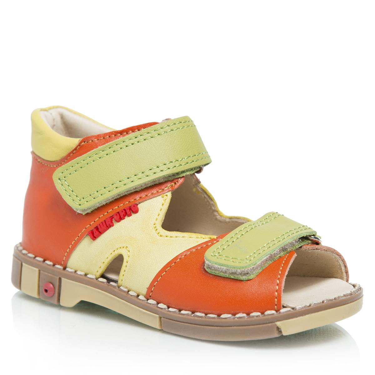 Сандалии детские. 260260-02Стильные детские сандалии Таши Орто заинтересуют вашего ребенка с первого взгляда. Модель выполнена из натуральной кожи контрастных цветов. Ремешки на застежке-липучке помогают оптимально подогнать полноту обуви по ноге и гарантируют надежную фиксацию. Благодаря такой застежке, ребенок может самостоятельно надевать обувь. Сбоку сандалии декорированы символикой бренда. Литая анатомическая стелька из натуральной кожи со сводоподдерживающим элементом и латексным покрытием, не продавливающаяся во время носки, обеспечивает правильное формирование стопы. Благодаря использованию современных внутренних материалов, позволяет оптимально распределить нагрузку по всей площади стопы, дает ножке ощущение мягкости и комфорта. Полужесткий задник фиксирует ножку ребенка, не давая ей смещаться из стороны в сторону и назад. Мягкая верхняя часть, которая плотно прилегает к ножке, и подкладка, изготовленная из натуральной кожи, позволяют избежать натирания. Широкий, устойчивый каблук, специальной...