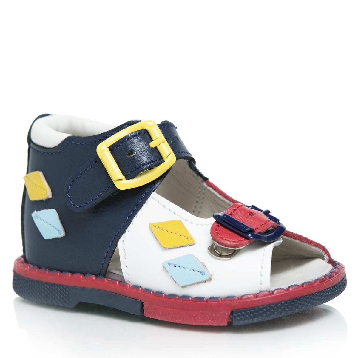 Сандалии детские. 119119-081Стильные детские сандалии Таши Орто заинтересуют вашего ребенка с первого взгляда. Модель выполнена из натуральной кожи контрастных цветов. Ремешки на застежке-пряжке помогают оптимально подогнать полноту обуви по ноге и гарантируют надежную фиксацию. Сбоку сандалии декорированы цветными нашивками из кожи в виде ромбиков. Литая анатомическая стелька из натуральной кожи со сводоподдерживающим элементом и латексным покрытием, не продавливающаяся во время носки, обеспечивает правильное формирование стопы. Благодаря использованию современных внутренних материалов, позволяет оптимально распределить нагрузку по всей площади стопы, дает ножке ощущение мягкости и комфорта. Мягкая верхняя часть, которая плотно прилегает к ножке, и подкладка, изготовленная из натуральной кожи, позволяют избежать натирания. Полужесткий задник фиксирует ножку ребенка, не давая ей смещаться из стороны в сторону и назад. Широкий, устойчивый каблук, специальной конфигурации каблук Томаса, продлен с внутренней...
