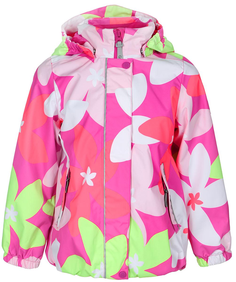 Куртка для девочки Sundae. 521445521445_3423Куртка для девочки Reima Sundae идеально подойдет для ребенка в прохладное время года. Куртка изготовлена из водоотталкивающей и ветрозащитной мембранной ткани. Материал отличается высокой устойчивостью к трению, благодаря специальной обработке полиуретаном поверхность изделия отталкивает грязь и воду, что облегчает поддержание аккуратного вида одежды, дышащее покрытие с изнаночной части не раздражает даже самую нежную и чувствительную кожу ребенка, обеспечивая ему наибольший комфорт. Куртка с капюшоном и длинными рукавами застегивается на пластиковую застежку-молнию с защитой подбородка, благодаря чему ее легко надевать и снимать, и дополнительно имеет внешнюю ветрозащитную планку на кнопках и липучках. Капюшон, присборенный по бокам, защитит нежные щечки от ветра, он пристегивается к куртке при помощи застежек-кнопок. Низ рукавов дополнен неширокими эластичными манжетами. Мягкая подкладка на воротнике и манжетах обеспечивает дополнительный комфорт. Спереди куртка дополнена...