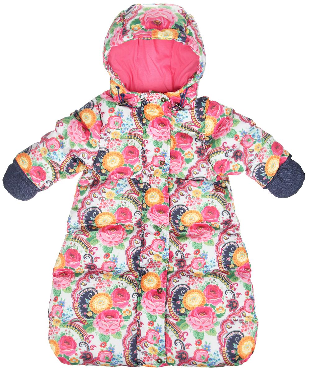 Конверт для девочки. 48-102_цветы48-102_цветыМягкий утепленный конверт для девочки Ёмаё идеально подойдет для вашей малышки в холодное время года. Выполненный из водоотталкивающей ткани на хлопковой подкладке, с утеплителем из полиэстера (синтепуха), он удивительно мягкий и приятный на ощупь, не сковывает движения и хорошо сохраняет тепло. Конверт-комбинезон с рукавами и капюшоном спереди застегивается на металлическую застежку-молнию и дополнительно имеет внешний ветрозащитный клапан на кнопках, а также защиту подбородка. Капюшон по краю присборен на скрытую эластичную резинку со стопперами. Спереди предусмотрены два прорезных кармашка. Модель оформлена ярким цветочным принтом. В комплект входят рукавички на текстильном шнурочке, благодаря чему они не потеряются. В таком конверте вашей малышке всегда будет тепло и уютно!
