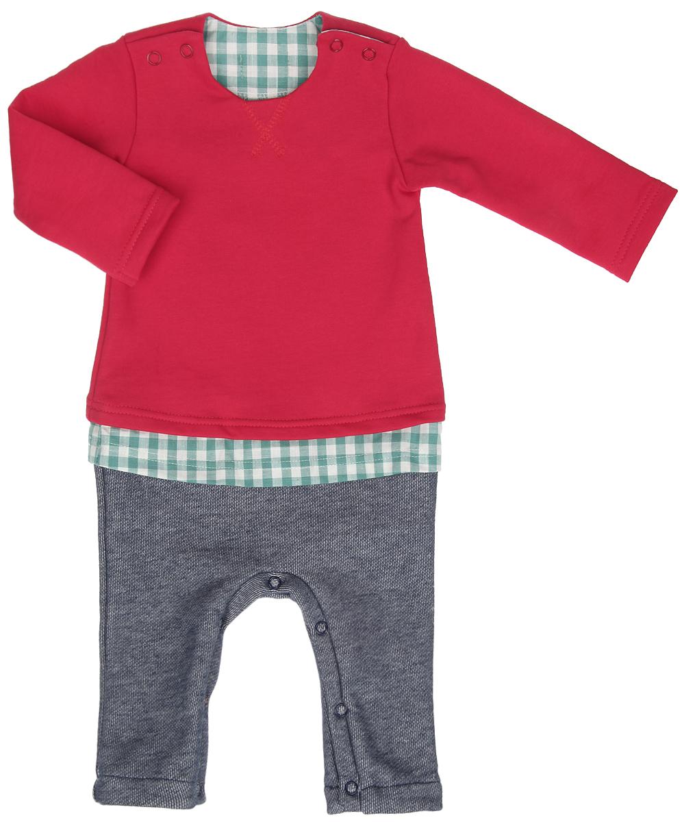 22-434Комбинезон для мальчика Ёмаё, имитирующий комплект из яркого джемпера, клетчатой рубашки и штанишек под джинсу, выполнен из хлопка с добавлением полиэстера. Комбинезон очень мягкий и приятный на ощупь, не раздражает нежную и чувствительную кожу ребенка. Лицевая сторона изделия гладкая, изнаночная с небольшими петельками, благодаря чему комбинезон удивительно комфортный и теплый. Модель с круглым вырезом горловины, длинными рукавами и открытыми ножками имеет застежки-кнопки по плечевым швам и на ластовице, что позволяет с легкостью переодеть малыша или сменить подгузник. Спереди изделие украшено фигурной прострочкой. Такой комбинезон станет стильным дополнением к гардеробу вашего ребенка, в нем крохе будет комфортно и уютно.