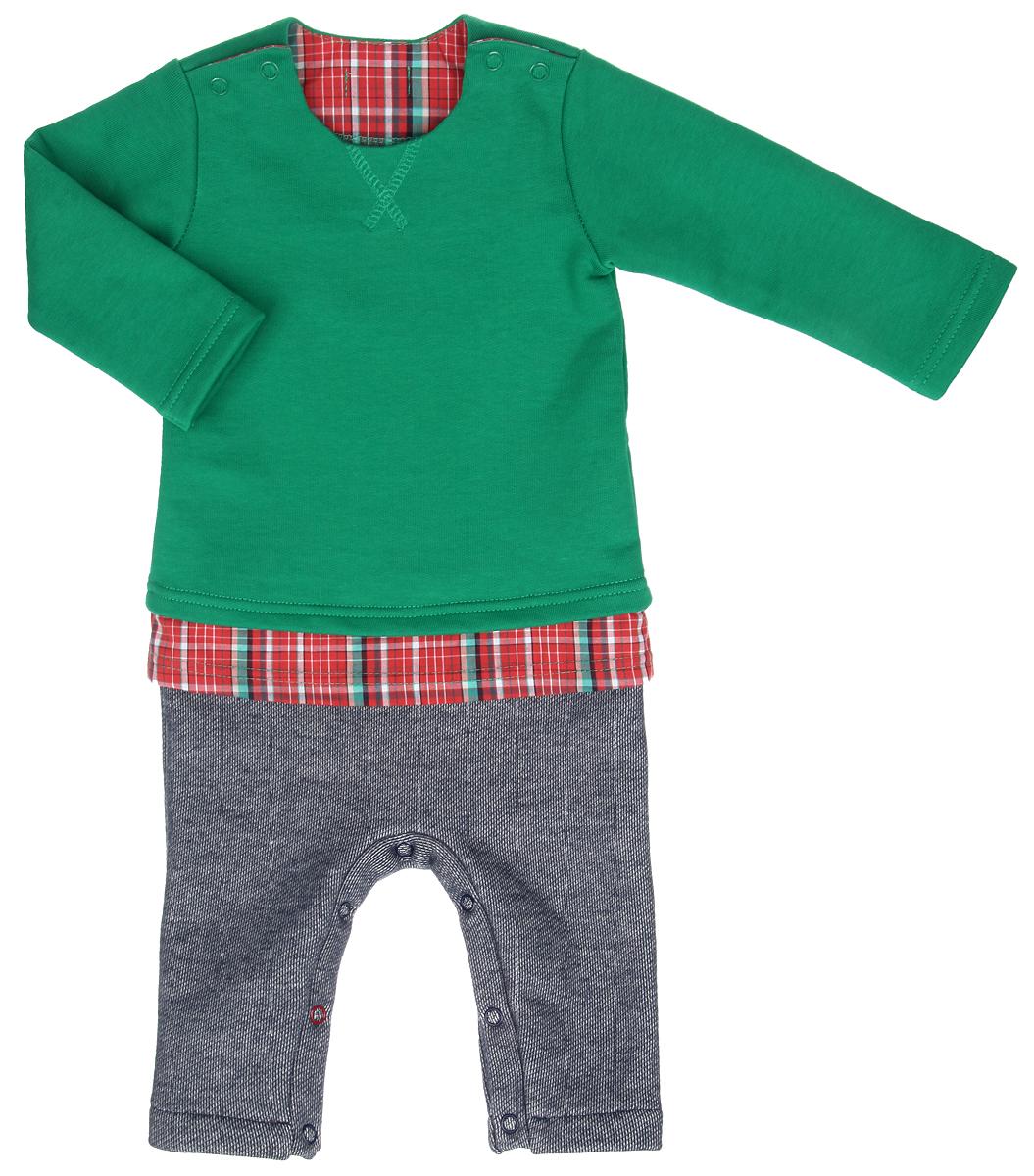 Комбинезон домашний22-434Комбинезон для мальчика Ёмаё, имитирующий комплект из яркого джемпера, клетчатой рубашки и штанишек под джинсу, выполнен из хлопка с добавлением полиэстера. Комбинезон очень мягкий и приятный на ощупь, не раздражает нежную и чувствительную кожу ребенка. Лицевая сторона изделия гладкая, изнаночная с небольшими петельками, благодаря чему комбинезон удивительно комфортный и теплый. Модель с круглым вырезом горловины, длинными рукавами и открытыми ножками имеет застежки-кнопки по плечевым швам и на ластовице, что позволяет с легкостью переодеть малыша или сменить подгузник. Спереди изделие украшено фигурной прострочкой. Такой комбинезон станет стильным дополнением к гардеробу вашего ребенка, в нем крохе будет комфортно и уютно.