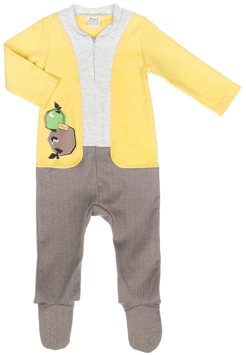 Комбинезон для мальчика. 22-24722-247Детский комбинезон для мальчика Ёмаё - очень удобный и практичный вид одежды для малыша. Комбинезон выполнен из натурального хлопка, благодаря чему он очень мягкий и приятный на ощупь, не раздражает нежную кожу ребенка и хорошо вентилируется. Комбинезон с длинными рукавами и закрытыми ножками имеет спереди застежку-молнию, которая помогает легко переодеть ребенка или сменить подгузник. Круглый вырез горловины дополнен широкой трикотажной резинкой. Использование контрастных цветов придает изделию эффект 3 в 1. Модель оформлена термоаппликацией с изображением яблок. Комфортный и уютный комбинезон станет незаменимым дополнением к гардеробу вашего ребенка. Изделие полностью соответствует особенностям жизни младенца в ранний период, не стесняя и не ограничивая его в движениях.