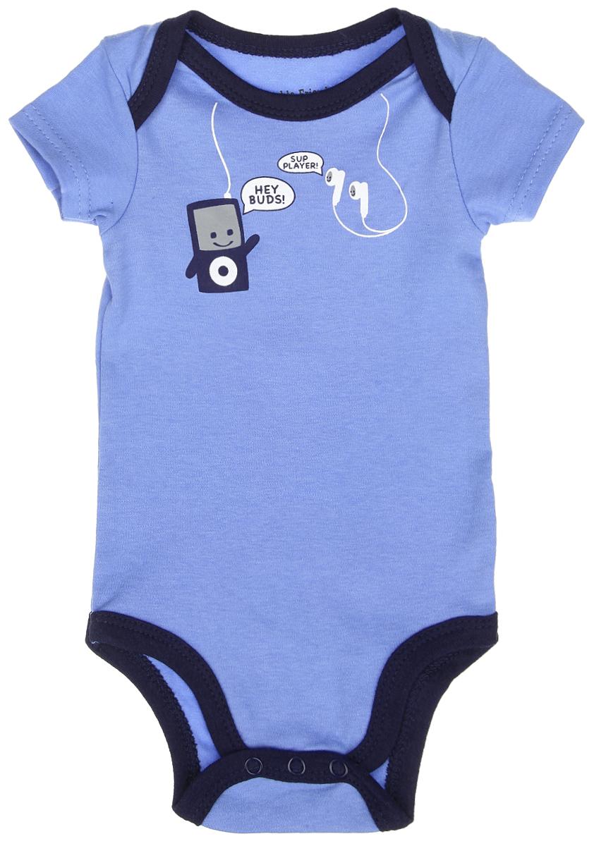 Боди-футболка для мальчика. 6050060500Боди-футболка для мальчика Luvable Friends станет идеальным дополнением к гардеробу вашего малыша. Изделие изготовлено из натурального хлопка, очень мягкое и приятное на ощупь, не раздражает нежную кожу ребенка и хорошо вентилируется. Боди с короткими рукавами и круглым вырезом горловины имеет удобные запахи на плечах, а также застежки-кнопки на ластовице, которые помогают легко переодеть ребенка и сменить подгузник. Спереди модель оформлена принтом и надписью. Боди полностью соответствует особенностям жизни ребенка в ранний период, не стесняя и не ограничивая его в движениях. В нем кроха будет чувствовать себя комфортно, уютно и всегда будет в центре внимания!
