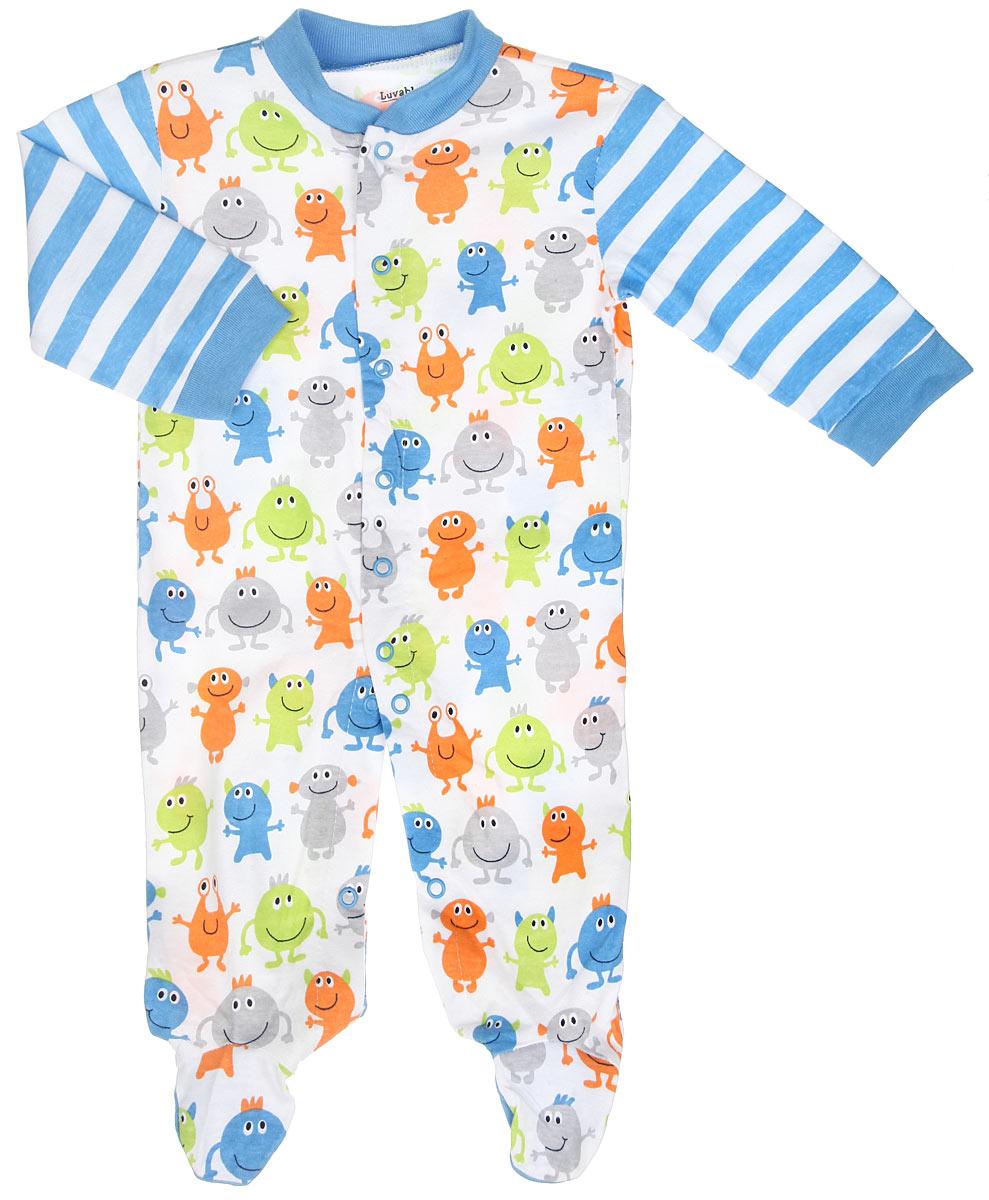 Комбинезон для мальчика. 8312283122Комбинезон для мальчика Luvable Friends - удобный и практичный вид одежды для малыша, который идеально подходит для сна и отдыха. Комбинезон выполнен из натурального хлопка, благодаря чему он очень мягкий и приятный на ощупь, не раздражает нежную кожу ребенка и хорошо вентилируется. Комбинезон с длинными рукавами и закрытыми ножками имеет застежки-кнопки от горловины до щиколоток, которые помогают легко переодеть младенца или сменить подгузник. Вырез горловины дополнен мягкой трикотажной резинкой. Изделие оформлено принтом с изображением забавных монстриков, а на рукавах - принтом в полоску. Комфортный и уютный комбинезон станет незаменимым дополнением к гардеробу вашего ребенка. Изделие полностью соответствует особенностям жизни младенца в ранний период, не стесняя и не ограничивая его в движениях.