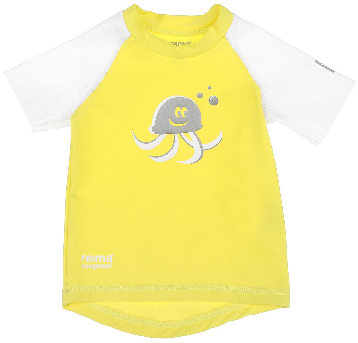 581021_2310Детская футболка Reima T-Shirt изготовлена из высококачественного быстросохнущего материала SunProof с УФ-фактором защиты 50+, который обеспечивает великолепную защиту нежной коже. Футболка предназначена для игр на солнце и в воде. Футболка с короткими рукавами-реглан и круглым вырезом горловины оформлена термоаппликацией с изображением осьминога. Спинка модели удлинена, что обеспечивает защиту, как в воде, так и на песке. Такая футболка, несомненно, понравится вашему ребенку и послужит отличным дополнением к детскому гардеробу!
