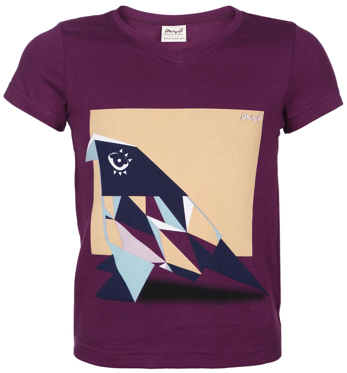 Футболка для девочки. 27-63027-630Стильная футболка для девочки Ёмаё идеально подойдет вашей моднице и станет прекрасным дополнением детского гардероба. Изготовленная из эластичного хлопка, она мягкая и приятная на ощупь, не сковывает движения и позволяет коже дышать, не раздражает даже самую нежную и чувствительную кожу ребенка, обеспечивая наибольший комфорт. Футболка с V-образным вырезом горловины и короткими рукавами оформлена оригинальным геометрическим принтом. Вырез горловины дополнен трикотажной эластичной резинкой. В такой футболке ваша принцесса будет чувствовать себя уютно и комфортно, и всегда будет в центре внимания!
