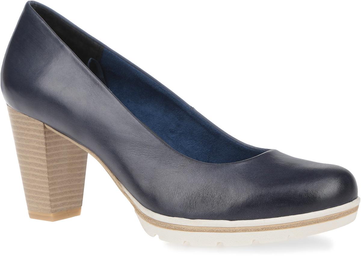 Туфли женские. 2-2-22419-262-2-22419-26-517Стильные женские туфли от Marco Tozzi займут достойное место в коллекции вашей обуви. Модель выполнена из натуральной кожи. Невероятно удобная стелька с памятью, выполненная из искусственной кожи, обеспечит ногам комфорт и уют. Подкладка исполнена из мягкого текстиля и натуральной кожи. Закругленный носок добавит женственности в ваш образ. Высокий каблук, стилизованный под дерево, устойчив и компенсирован платформой. Подошва с рельефным протектором не скользит. Такие туфли прекрасно дополнят ваш повседневный образ.
