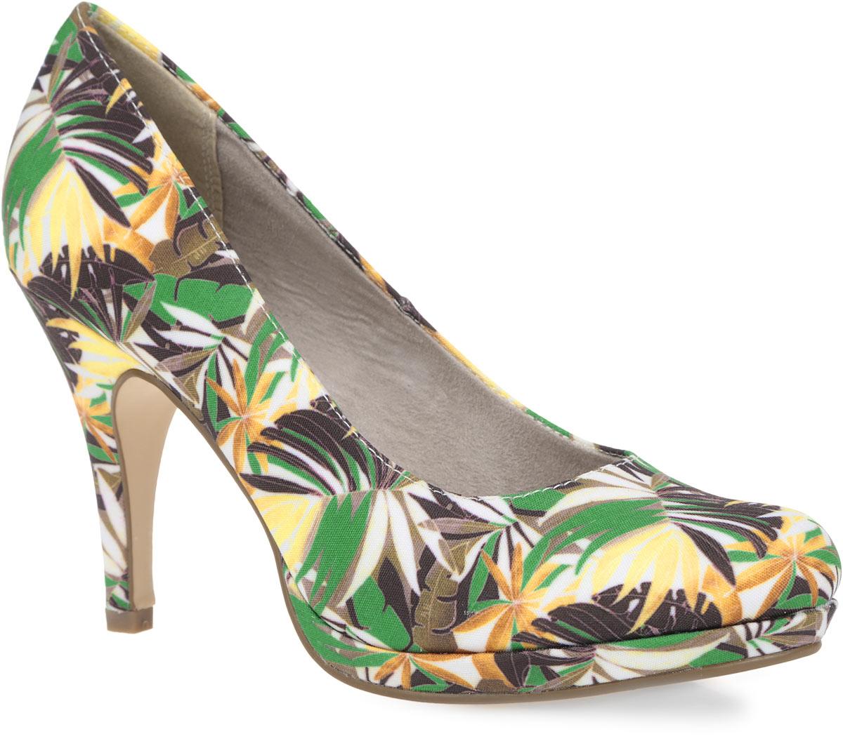 Туфли женские. 1-1-22407-26-7601-1-22407-26-760Оригинальные женские туфли от Tamaris очаруют вас с первого взгляда. Модель выполнена из текстиля, оформленного яркими красочными изображениями. Круглый носок добавит женственности в образ. Подкладка, изготовленная из комбинации мягкого текстиля и искусственных материалов, и стелька из искусственной кожи обеспечат ногам комфорт и уют. Высокий каблук компенсирован платформой. Подошва с рифлением обеспечивает отличное сцепление с поверхностью. Роскошные туфли помогут вам создать модный и стильный образ.