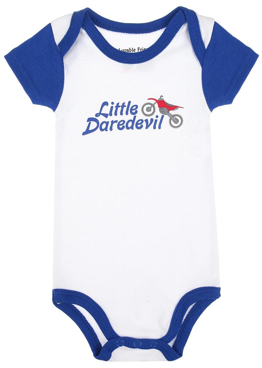 Боди-футболка для мальчика. 6052660526Боди-футболка для мальчика Luvable Friends станет идеальным дополнением к гардеробу вашего малыша. Изделие изготовлено из натурального хлопка, очень мягкое и приятное на ощупь, не раздражает нежную кожу ребенка и хорошо вентилируется. Боди с короткими рукавами и круглым вырезом горловины имеет удобные запахи на плечах, а также застежки-кнопки на ластовице, которые помогают легко переодеть ребенка и сменить подгузник. Спереди модель оформлена принтом и надписью. Боди полностью соответствует особенностям жизни ребенка в ранний период, не стесняя и не ограничивая его в движениях. В нем кроха будет чувствовать себя комфортно, уютно и всегда будет в центре внимания!