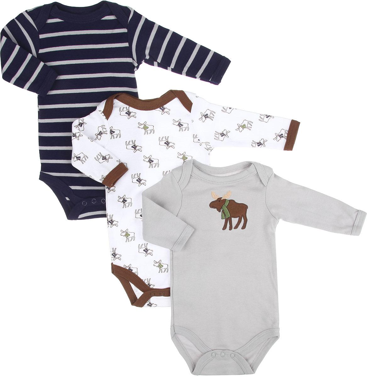 Боди для мальчика Лось, 3 шт. 5512855128Боди для мальчика Hudson Baby Лось станет идеальным дополнением к гардеробу вашего малыша. Изделие изготовлено из натурального хлопка, очень мягкое и приятное на ощупь, не раздражает нежную кожу ребенка и хорошо вентилируется. Боди с длинными рукавами и круглым вырезом горловины имеет удобные запахи на плечах, а также застежки-кнопки на ластовице, которые помогают легко переодеть ребенка и сменить подгузник. Боди полностью соответствует особенностям жизни ребенка в ранний период, не стесняя и не ограничивая его в движениях. В нем кроха будет чувствовать себя комфортно, уютно и всегда будет в центре внимания! Комплект состоит из трех моделей боди разной расцветки.