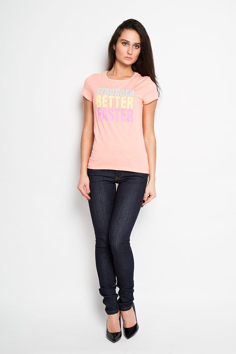 ФутболкаTs-111/932-6172Стильная женская футболка Sela, выполненная из высококачественного комбинированного материала на основе полиэстера с добавлением хлопка, обладает высокой теплопроводностью, воздухопроницаемостью и гигроскопичностью, позволяет коже дышать. Модель с короткими рукавами и круглым вырезом горловины - идеальный вариант для создания образа в стиле Casual. Футболка оформлена надписью Know Pain Know Gain. Такая модель подарит вам комфорт в течение всего дня и послужит замечательным дополнением к вашему гардеробу.