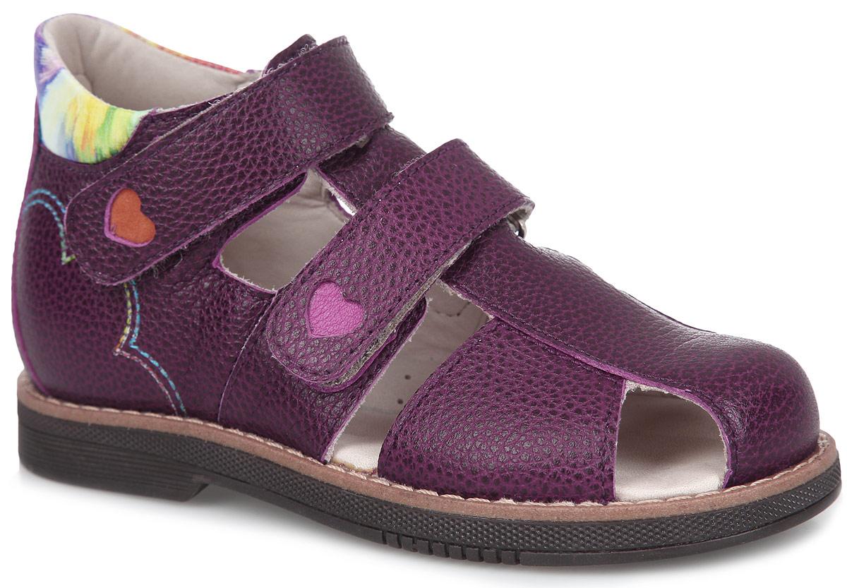FT-26004.15-OL06O.01Стильные сандалии от TapiBoo придутся по душе вашей девочке. Модель, выполненная из натуральной кожи с фактурным тиснением, оформлена прострочкой вдоль ранта, декоративной перфорацией на ремешках и заднике, по бокам - контрастной прострочкой. Внутренняя поверхность из натуральной кожи гарантирует комфорт при движении. Анатомическая стелька из натуральной кожи с супинатором обеспечивает правильное формирование стопы. Жесткий фиксирующий задник с удлиненным крылом яркого принта надежно стабилизирует голеностопный сустав во время ходьбы. Застегивается модель на два ремешка с липучками. Упругая подошва, имеющая перекат, позволяет повторять естественное движение стопы при ходьбе для правильного распределения нагрузки на опорно-двигательный аппарат ребенка. Ортопедический каблук Томаса укрепляет подошву под средней частью стопы и препятствует ее заваливанию внутрь. Рельефный рисунок подошвы обеспечивает сцепление с любыми поверхностями. Такие сандалии станут...