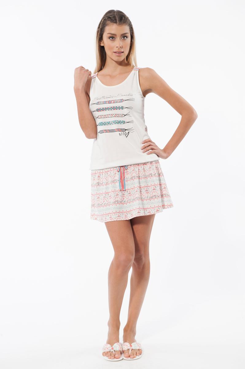 Ночная сорочка женская. 1575415754Цельнокроеная сорочка Relax Mode, выполненная в виде майки и юбки, непременно привлечет внимание к своей обладательнице. Изготовлена из натурального хлопка с незначительным количеством эластана, оформлена стильным принтом. Модель с круглым вырезом горловины на бедрах дополнена эластичной резинкой, декоративным оригинальным бантиком. На груди - изображение феничек. Сорочка от Relax Mode поможет подчеркнуть вашу индивидуальность.