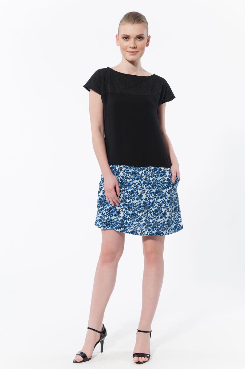Платье. 4574545745Стильное платье Relax Mode, выполненное из высококачественного материала, будет отлично на вас смотреться. Модель свободного кроя с рукавами-кимоно и круглым вырезом горловины подчеркнет ваш стиль. Изделие сверху выполнено из ажурного материала. Спинка оформлена небольшой застежкой-молнией. Трикотажное платье изготовлено в безупречной гармоничной цветовой гамме и оформлено двумя прорезными карманами. Идеальный вариант для тех, кто ценит комфорт и качество.