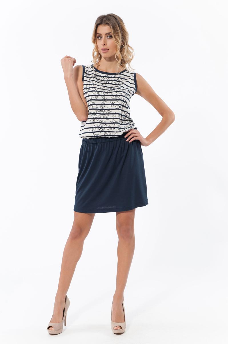 Платье. 4580445804Платье Relax Mode станет стильным дополнением к вашему гардеробу. Изготовленное из хлопка и модала, оно очень мягкое, приятное на ощупь, не сковывает движения и хорошо вентилируется. Модель с круглым вырезом горловины оформлена принтом в полоску с цветочным узором. На талии платье дополнено вшитой широкой резинкой. Отделка платья придает изделию эффект 2 в 1 (майка, юбка). Яркое и модное платье подарит вам удобство и комфорт, а также подчеркнет вашу индивидуальность.